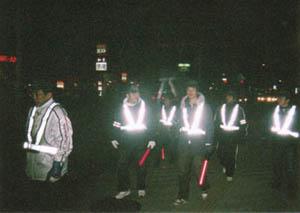 夜間パトロールの様子